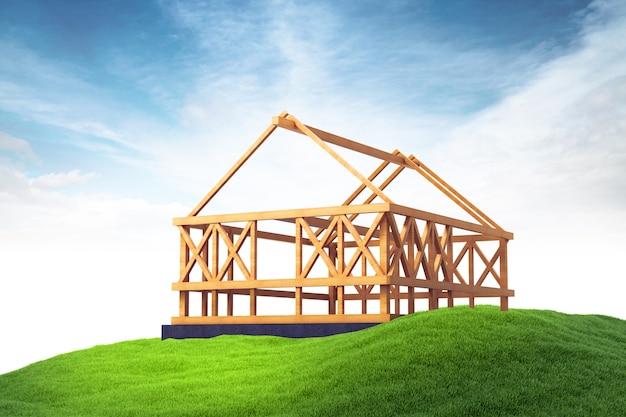 Estrutura de madeira para construção de casa nova na grama no fundo do céu Foto Premium