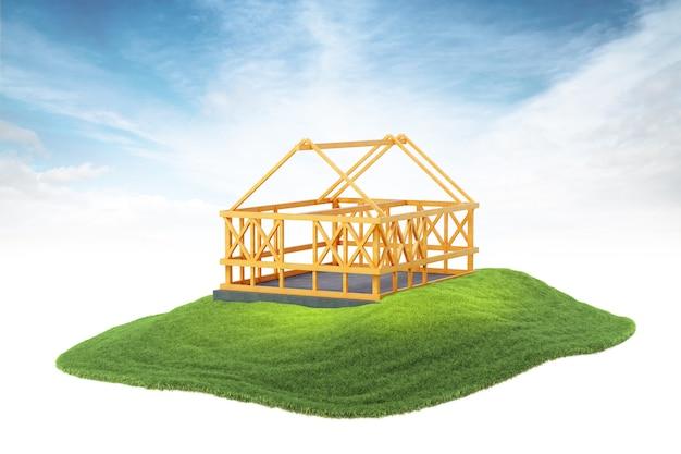 Estrutura de madeira para construção de nova casa flutuando no ar no fundo do céu Foto Premium
