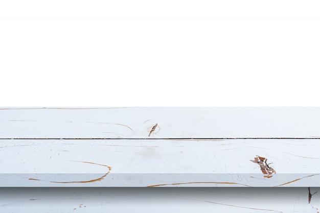 Esvazie a tabela de madeira branca no fundo branco do isolado e exiba a montagem com espaço da cópia para o produto. Foto Premium