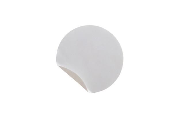 Etiqueta autocolante de papel com círculo branco em branco isolada no fundo branco com traçado de recorte Foto Premium