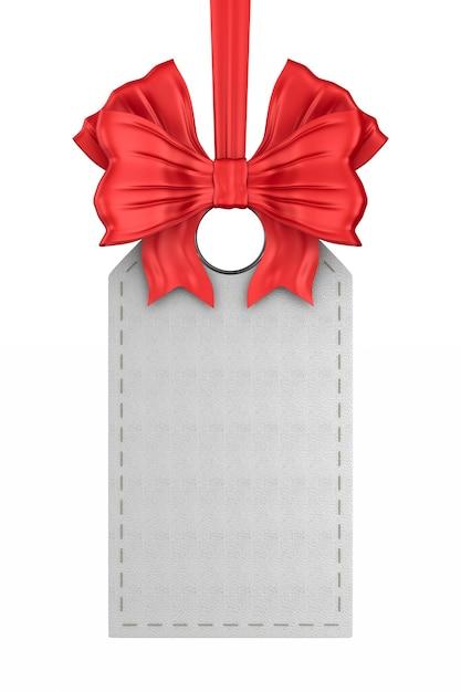Etiqueta de couro branco com laço vermelho em fundo branco. ilustração 3d isolada Foto Premium