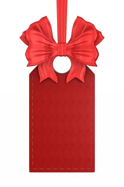 Etiqueta de couro vermelha em fundo branco. ilustração 3d isolada Foto Premium