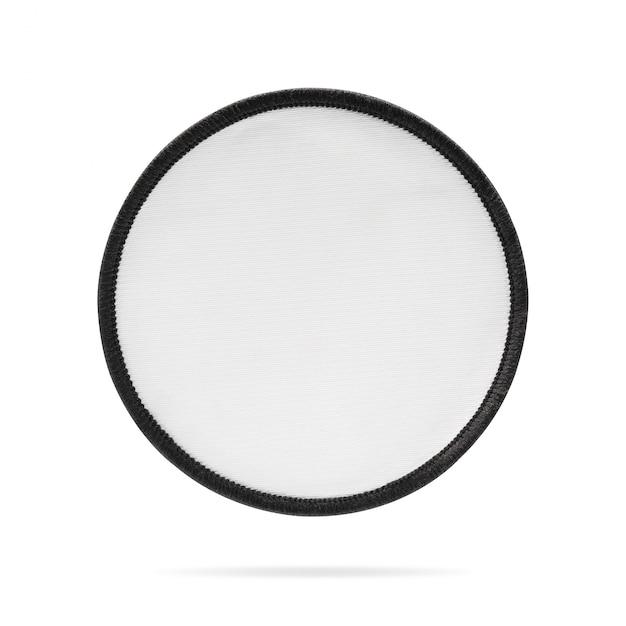 Etiqueta vazia do remendo ou da tela no fundo isolado com trajeto de grampeamento. Foto Premium