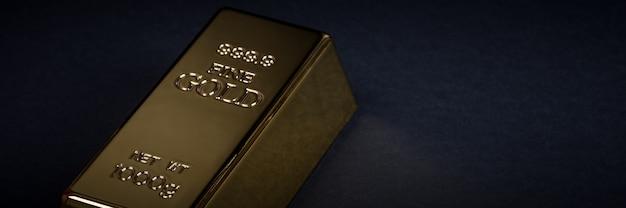 Euro dinheiro e barra de ouro em um fundo preto Foto Premium