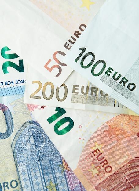 Euro- dinheiro. fundo de dinheiro do euro. notas de euro em dinheiro Foto Premium