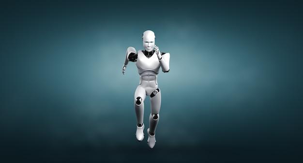 Executando um robô humanóide mostrando movimento rápido e energia vital Foto Premium