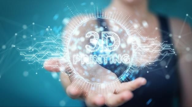 Executiva, usando, impressão 3d, digital, holograma, 3d, fazendo Foto Premium