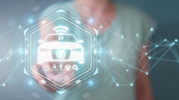 Executiva, usando, modernos, esperto, car, interface, 3d, fazendo Foto Premium