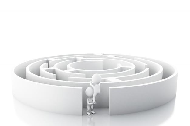 Executivos brancos 3d com um labirinto. Foto Premium