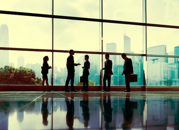 Executivos do conceito da cidade do escritório de uma comunicação Foto Premium