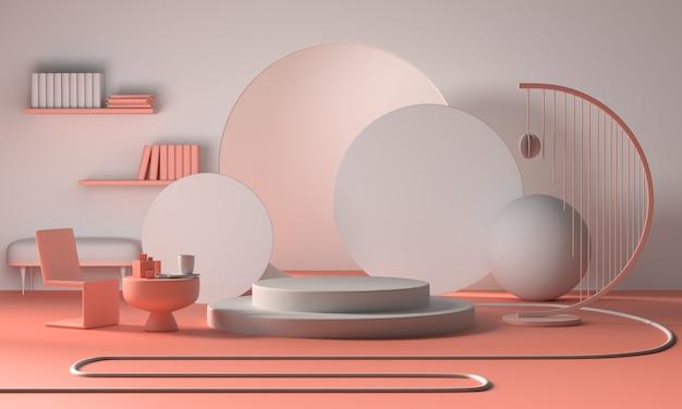 Exibição do pódio minimalista moderno ou vitrine, sala de estar apartamento interior Foto Premium