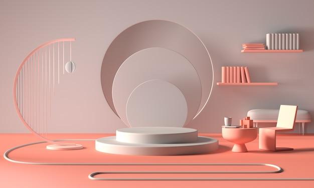 Exibição ou vitrine minimalista moderna do pódio Foto Premium