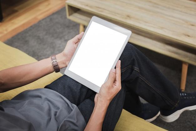 Exibição vazia de tablet de maquete. Foto Premium