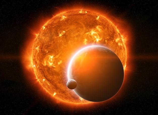 Explodindo o sol no espaço perto do planeta terra e da lua Foto Premium