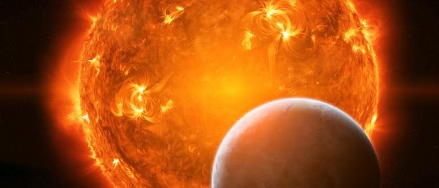 Explodindo o sol no espaço perto do planeta terra Foto Premium