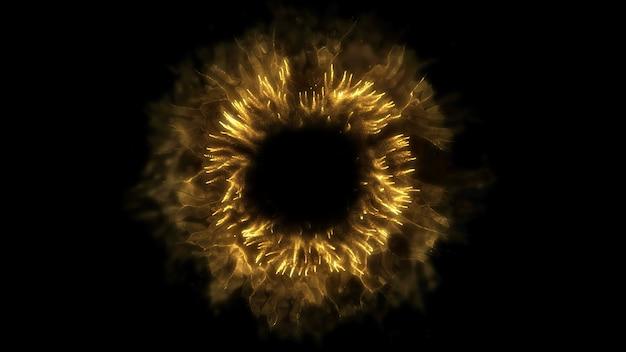 Explodir fundo. explosão isolada. pano de fundo preto. onda de choque redonda. elemento abstrato cor de ouro Foto Premium