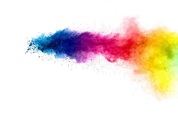 Explosão colorida para pó feliz holi. abstrato de partículas de cor estourar ou espirrar. Foto Premium