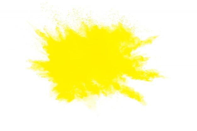 Explosão de pó amarelo abstrata em branco Foto Premium