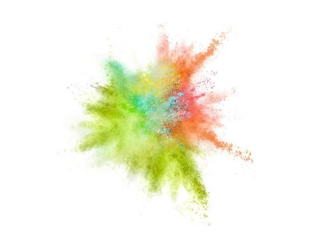 Explosão de pó colorido no fundo branco Foto gratuita