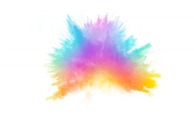 Explosão de pó colorido. salpicos de partículas de poeira de cor pastel. Foto Premium