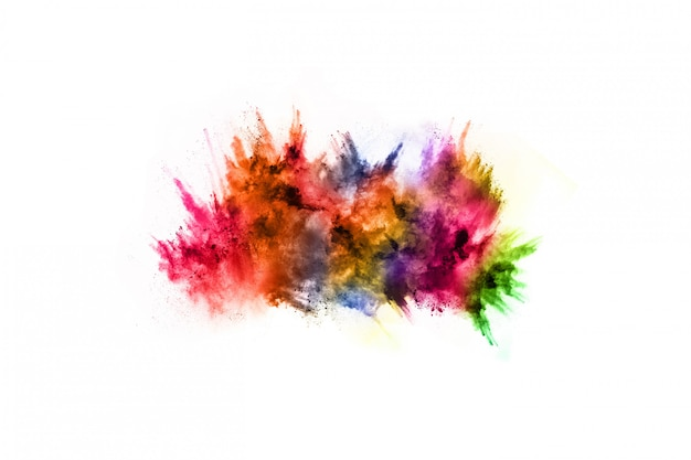 Explosão de pó colorido sobre fundo branco. Foto Premium