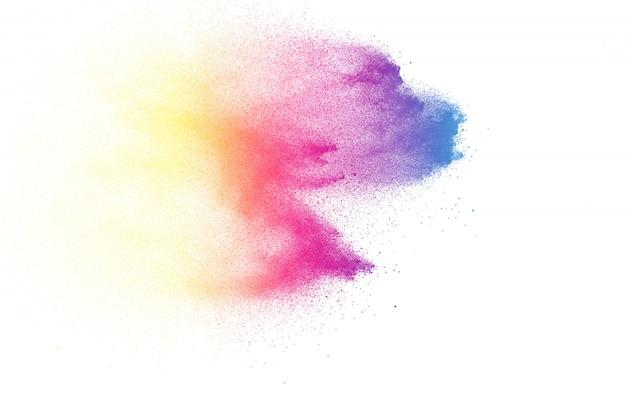 Explosão de pó cor abstrata em fundo branco Foto Premium