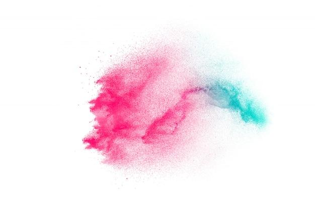 Explosão de pó de cor lançada no fundo. Foto Premium