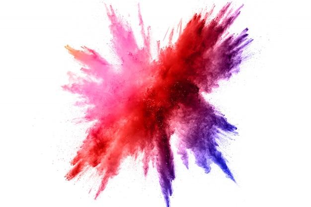 Explosão de pó de cor. respingo de pó colorido. Foto Premium