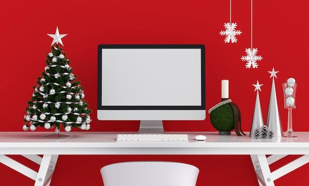 Exposição de computador para maquete, conceito de natal Foto Premium
