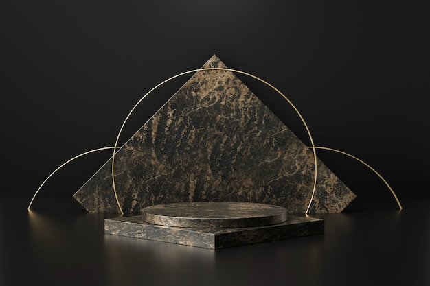 Exposição de produtos em mármore preto com formas geométricas. pedestal vazio ou pódio. renderização em 3d. Foto Premium