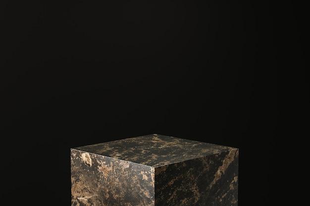 Exposição de produtos em mármore preto. pódio de pedestal vazio para mostrar. renderização em 3d. Foto Premium