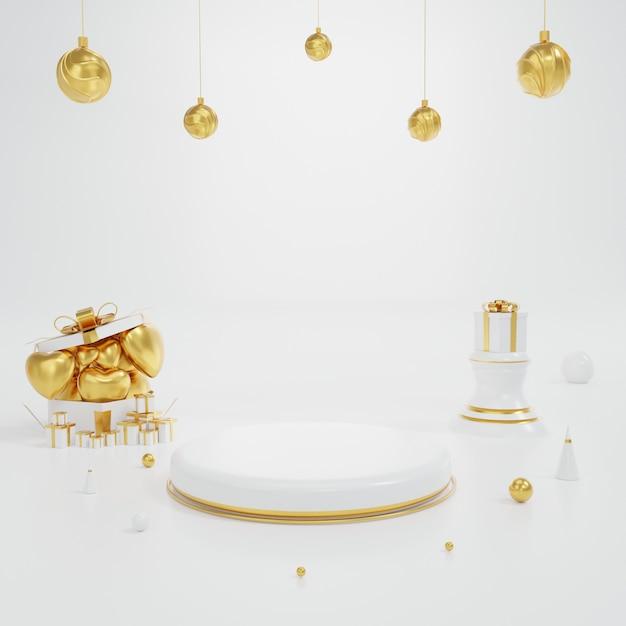 Expositor de produtos branco e dourado com elemento de coração e esfera e geometria. ilustração de fundo sobre a renderização de concept.3d de dia dos namorados. Foto Premium