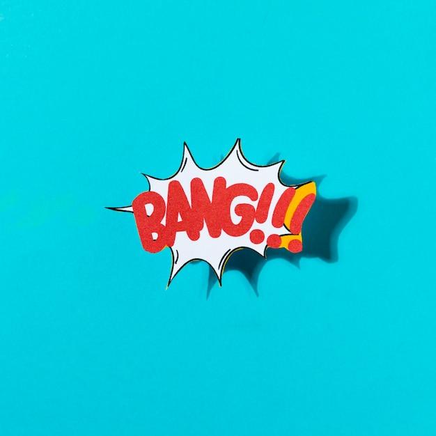 Expressão de marca de rótulo de fonte exclusivo dos desenhos animados com bang palavra sobre fundo azul Foto gratuita