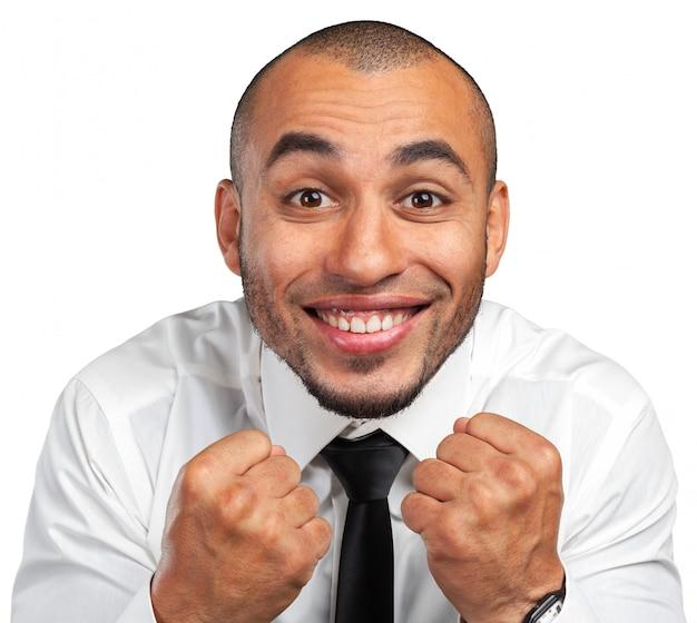 Expressão feliz do empresário negro Foto Premium