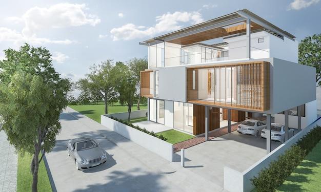 Exterior de renderização 3d de casa moderna com bom design Foto Premium