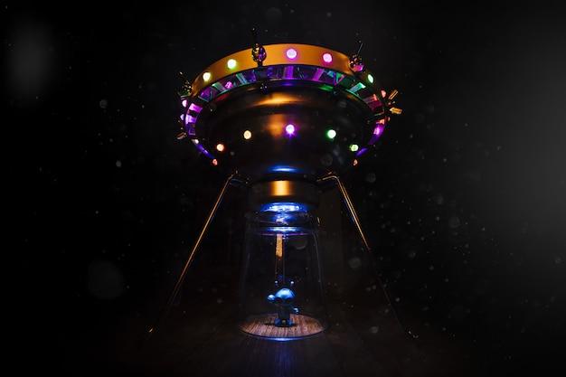 Extraterrestre e disco voador Foto Premium