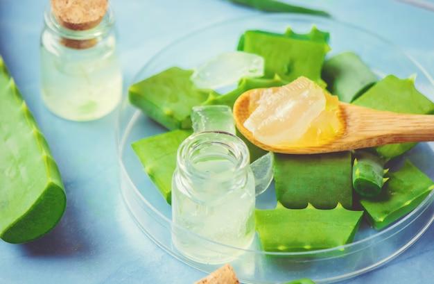 Extrato de aloe vera em uma pequena garrafa e peças em cima da mesa. foco seletivo. Foto Premium