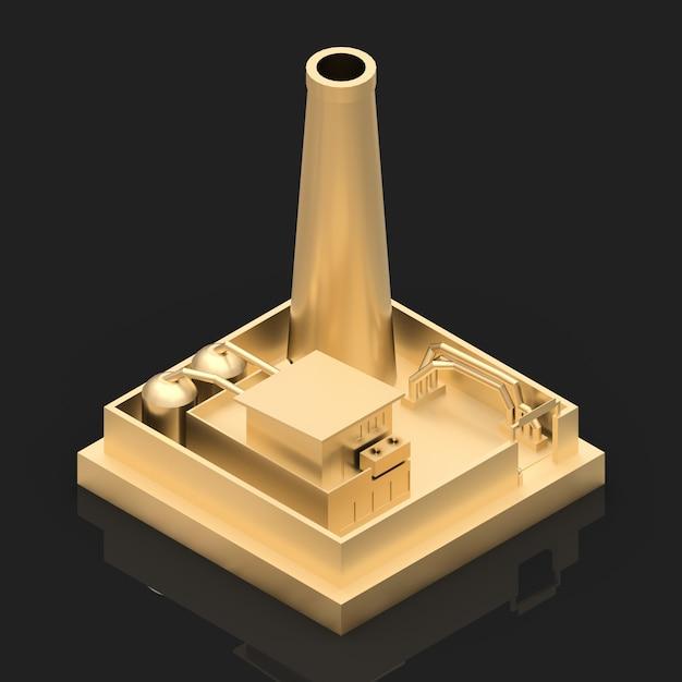 Fábrica de desenho isométrico no estilo de minimal. edifício de ouro sobre um fundo preto brilhante Foto Premium