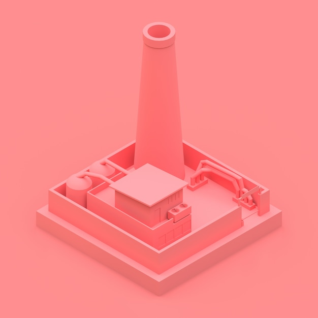 Fábrica de desenho isométrico no estilo de minimal. edifício rosa em um fundo rosa Foto Premium