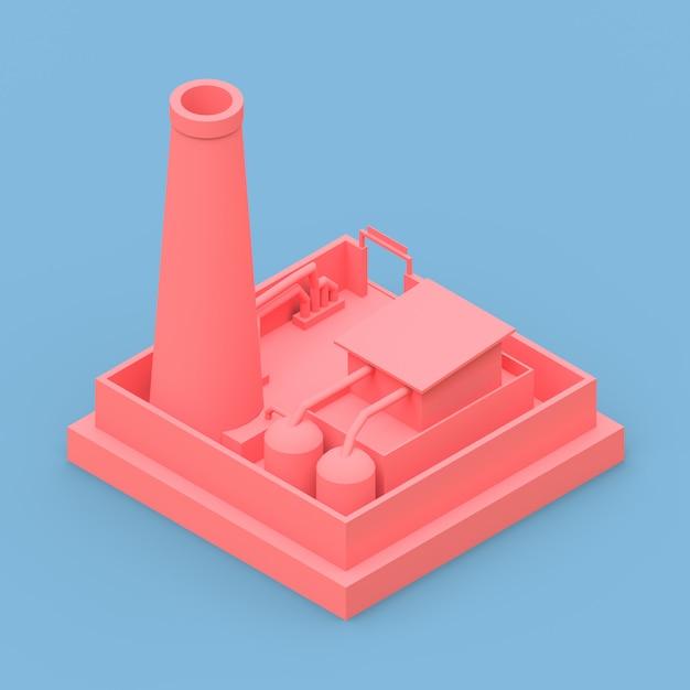 Fábrica de desenho isométrico no estilo de minimal. rosa de construção sobre um fundo azul. renderização em 3d. Foto Premium
