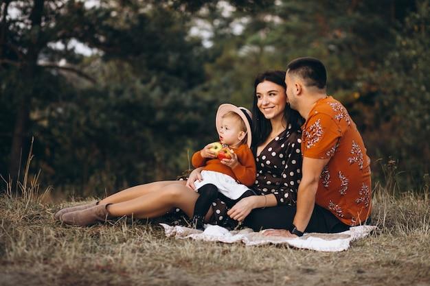 Família com sua filha fazendo piquenique em um campo Foto gratuita