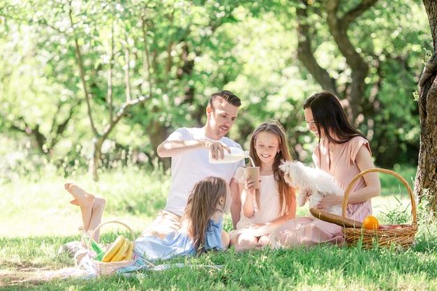 Família feliz em um piquenique no parque em um dia ensolarado Foto Premium