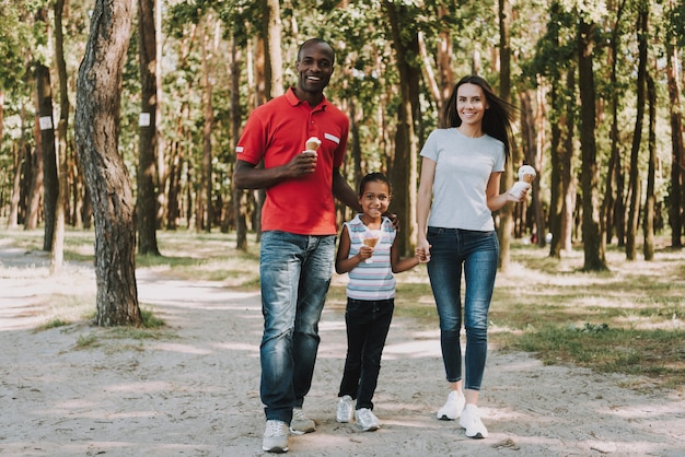 Família mista feliz está andando na madeira. Foto Premium