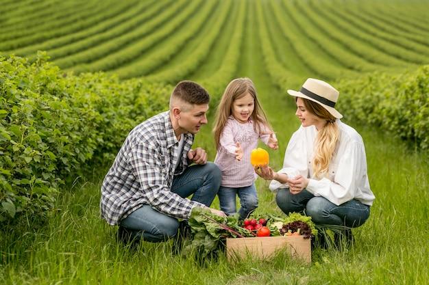 Família na terra com cesta de legumes Foto Premium