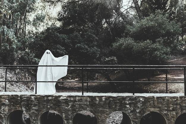 Fantasma sombrio com a mão erguida em pé no viaduto na floresta Foto gratuita