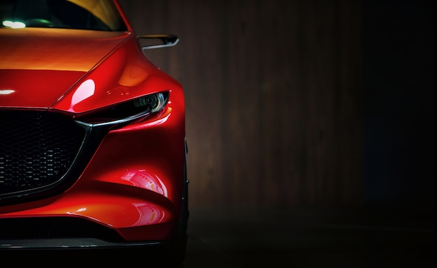 Faróis de carros modernos vermelhos em fundo preto Foto Premium