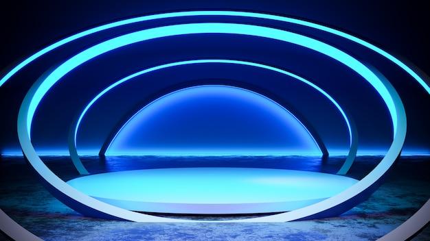 Fase do círculo com blackground de luz de néon e piso de concreto, luz azul, render 3d Foto Premium