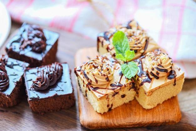 Fatia de bolo de chocolate Foto Premium