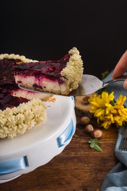 Fatia de bolo delicioso close-up Foto gratuita