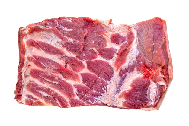 Fatia de carne de porco isolada em fundo branco Foto Premium